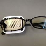 ブルーライト対策眼鏡と眼帯の融合 黄斑変性症
