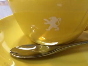 マルキさんで出てきたコーヒーカップ。ライオンだ!